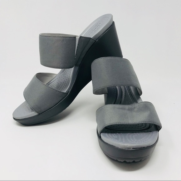 49d2fce859 CROCS Shoes | Leigh Ii 2 Strap Wedge Slides Sandals Sz 9 | Poshmark